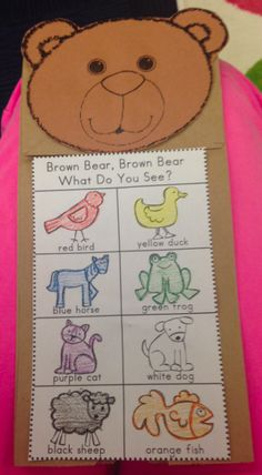 Brown Bear, Brown Bear is singsong text to go along with what each animal sees. Brown Bear, Brown Bear Paper Bag Retelling Puppet is a great activity to go along with remembering the text of the book. Bears Preschool, Preschool Colors, Preschool Literacy, Preschool Lessons, Classroom Activities, Preschool Crafts, Toddler Activities, Preschool Activities, Brown Bear Activities