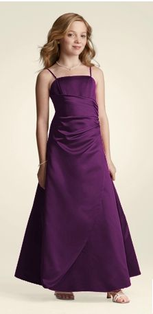 David's Bridal: Long Satin Ball Gown with Side Ruching Style JB1675, plum