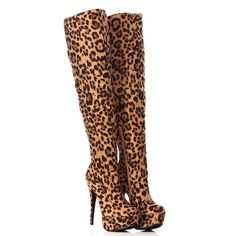 Over knee leopard boots Brand new with box leopard print high knee boots. Very stupid and fashionable. Stunning shoes. Perfect for cold season. You'll get a lot of compliments wearing this beauty. Charlotte Russe Shoes Over the Knee Boots