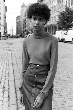 high-waisted denim pencil skirt