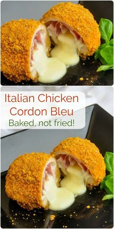 Chicken Cordon bleu is definitely a French idea but this recipe interprets it with some great Italian flavours in a baked version that helps reduce the fat too. Fish Recipes, Beef Recipes, Chicken Recipes, Cooking Recipes, Recipies, Rock Recipes, Kraft Recipes, Chicken Cordon Blue, Gourmet