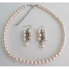 Price :$6.99 Light Pink Pearl Necklace and Earring Cluster Bridesmaid Gift  Material Used : Blush Pink 8mm pearls Color : Light Pink Necklace Length : 16 inches with 2 inches extension Earrings Length : 1 inch long Earrings Type : French hook Nickel Free