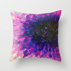 VACANCY - LIMITLESS Bold Eggplant Plum Purple Abstract Acrylic Painting Floral Macro Colorful Void Throw Pillow by EbiEmporium - $20.00