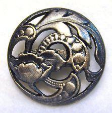 Pierced Antique Silver Button Art Nouveau Flower Design FREE US SHIPPING