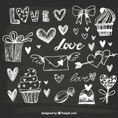 Great hand-drawn objects for valentine& day Free Vector Blackboard Art, Chalkboard Lettering, Chalkboard Designs, Scrapbook Journal, Diy Scrapbook, Scrapbook Albums, Heart Doodle, Photo Album Scrapbooking, Bullet Journal Ideas Pages