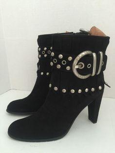 "Stuart Weitzman  Ankle Boot Black Suede Fringes , Belt With Studs ""Bangs"" $795 #StuartWeitzman #FashionAnkle #SpecialOccasion"