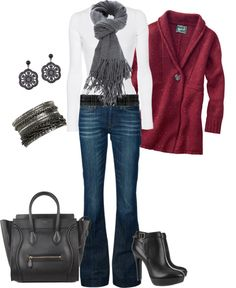 """""""Fall Jean Set"""" by stacylcarroll on Polyvore (needs a chunkier heeled boot)"""