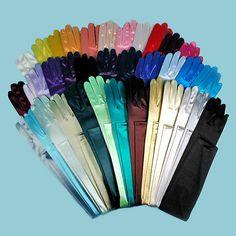 Long Satin Stretch Opera Gloves in Warm Colors | eBay