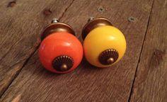1 knob. Yellow knob. Orange Knob. Decorative Knobs. by ShabbyWorks