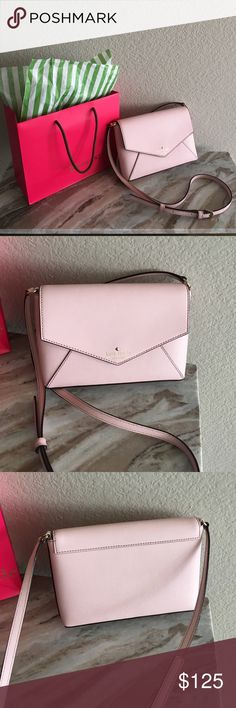 Kate Spade envelope cross-body Adorable Kate Spade envelope cross-body in blush pink. Slim and sleek style with one inner pocket and snap closure. kate spade Bags Crossbody Bags
