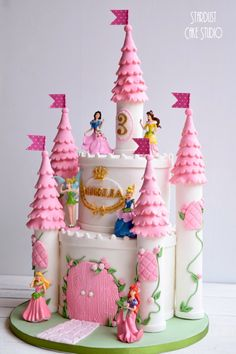 Castle Cake Princess Birthday Centerpieces, Disney Princess Birthday Cakes, Disney Themed Cakes, Barbie Birthday, Disney Cakes, Princess Party, Ocean Birthday Cakes, 22nd Birthday Cakes, Castle Birthday Cakes