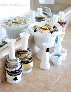 milk glass jewelry organization