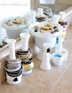 milk glass jewelry organization