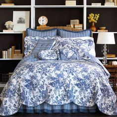 Bring an aristocratic French feel to your bedroom with the classic styling of the Toile Garden bedding collection from JCP home. The popularity of toile dates back to the Blue Rooms, Blue Bedroom, Bedroom Decor, Master Bedroom, Toile Bedding, Waverly Bedding, Chic Bedding, Cotton Bedding, Cotton Pillow