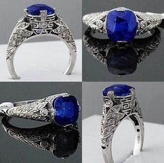 Superb 4.67ct KASHMIR sapphire, diamond & Platinum filigree Art Deco Ring