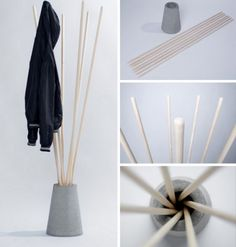 Quick, easy and cheap to construct, this coat rack prototype by Vytautas Gecas nonetheless has quite a bit of (albeit unconventional) class – arguably even elegance. You could probably buy a set of rake or broom handles and simple outdoor plant pot at the