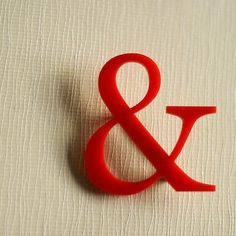 Ampersand Brooch - Red ~ made by anna