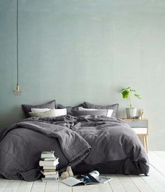 Bedroom Inspo One of our favourite bedrooms! Double Tag - Architecture and Home Decor - Bedroom - Bathroom - Kitchen And Living Room Interior Design Decorating Ideas - Bedroom Green, Dream Bedroom, Home Bedroom, Master Bedroom, Bedroom Mint, Modern Bedroom, Upstairs Bedroom, Grey Green Bedrooms, Messy Bedroom