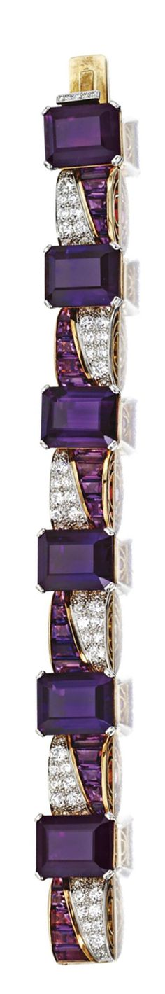 AMETHYST AND DIAMOND BRACELET Set with 6 emerald-cut amethysts separated by arched links set with calibré-cut amethysts and pavé-set round diamonds, the total diamond weight approximately 6.90 carats, mounted in rose gold and platinum