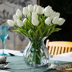 Calcifer@ 12 Pcs (One New Beautiful PU Mini Artificial Tulips Flowers Bouquet For Home Decoration/Wedding (White) *** More info could be found at the image url.