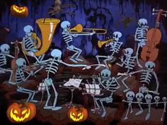 """Neat video of skeleton orchestra performing """"In the Mood"""" by Glenn Miller. Great for anytime of the year; not just Halloween Happy Halloween Pictures, Halloween Images, Halloween Quotes, Happy Halloween Gif, Snoopy Halloween, Fröhliches Halloween, Happy Birthday Video, Birthday Songs, Holiday Wallpaper"""