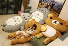 Totoro bed Sleeping bag Sofa Cute big pillow for your kids room Rilakkuma, Bequemste Couch, Bed Sofa, Most Comfortable Couch, Kawaii Room, Home Again, Gifted Kids, Christmas Gifts For Kids, Slumber Parties