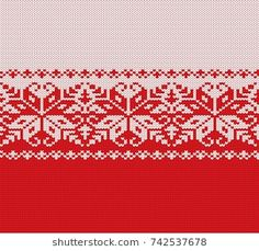 Knitted christmas red and white floral geometric ornament. Xmas knit winter sweater texture design. Vector illustration.