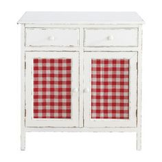 Aparador de cocina blanco - Brigitte - white kitchen cabinet with red & white gingham doors