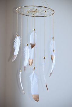 Hey, I found this really awesome Etsy listing at https://www.etsy.com/listing/231184817/baby-mobile-white-and-gold-dreamcatcher