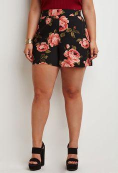 Plus Size Rose Print Shorts