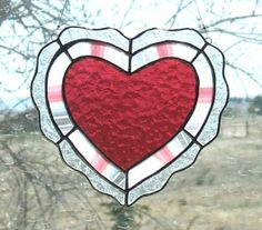 Stained Glass Lace Heart In Gold-Pink - by Ladybug Stained Glass