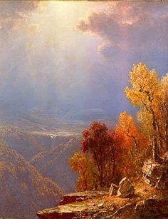 Autumn in the Catskills, oil on canvas by Sanford Robinson Gifford, 1823-1880, American Hudson River School painter. Gifford was known for his light and soft atmospheric effects and he practiced Luminism.    This painting is stunning with its bright color and lure of autumn in America's New England states. Here's to a joyous welcome to fall.