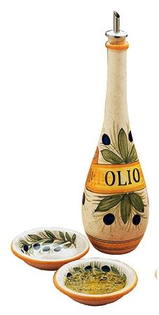 Italian Ceramic Bottles :: RUSTICA Oil Bottle with Spigot + 2 Dipping Bowls