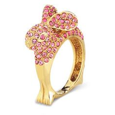 Pink Swarovski Crystal Rabbit Ring