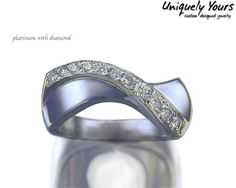 Gorgeous curved pave fashion in platinum with diamonds | Uniquely Yours Custom Designed Jewelry, Minneapolis, MN