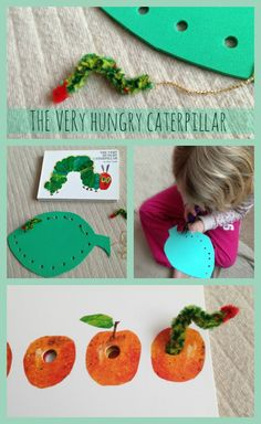 Threading activities (fine motor skills) to go with The Very Hungry Caterpillar by Eric Carle Eric Carle, Literacy Activities, Preschool Activities, Sunday Activities, Fine Motor, Kids Learning, Montessori, Crafts For Kids, Creations