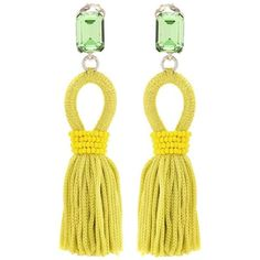 Oscar de la Renta Embellished Tassel Clip-on Earrings ($465) ❤ liked on Polyvore featuring jewelry, earrings, yellow, oscar de la renta, oscar de la renta earrings, yellow earrings, tassle earrings and clip earrings