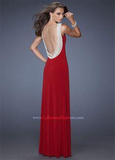 La Femme 19814 Crimson V-neckline Bodice Side Slit Long Prom Dresses