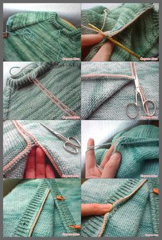 This Pin was discovered by fetWant to learn how to do this!Turning g a pullover into a cardigan by stealing. Sweater Knitting Patterns, Knitting Charts, Lace Knitting, Knitting Designs, Knitting Stitches, Knitting Needles, Knit Patterns, Knitting Projects, Knitting Short Rows