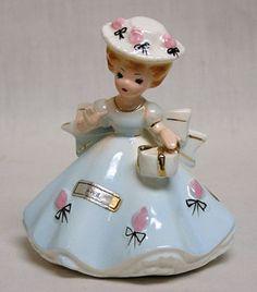 Vintage Josef Originals April Girl in Blue w Hat Purse