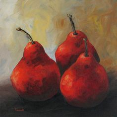 "Rose Red Pears  6"" x 6"" Original Painting by Torrie Smiley  ~Sold~"