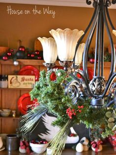 How to add garland and decorations to your chandelier - do this for Christmas!