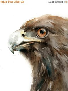 BLACK FRIDAY SALE Eagle Print Watercolor by CanotStopPrints