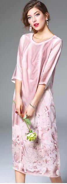 Pink Silk Scoop Neck Sleeve Floral Print Shift Midi Dress