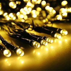 Lightbuy Christmas Light string Solar Powered 39ft 100pcs LEDs Waterproof Christmas Lighting Starry Fairy Lights for Homes Wedding Christmas Party Seasonal Decoration Light Warm White