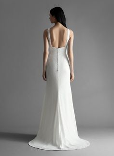 Style 4911 Brinlee Allison Webb bridal gown - Snow micro-sequin slim A-line bridal gown, V-neckline, with silk chiffon bias detail. A Line Bridal Gowns, Wedding Gowns, Straight Skirt, Weekend Style, Normal Wear And Tear, Silk Chiffon, Dream Dress, Couture Fashion, Fit And Flare