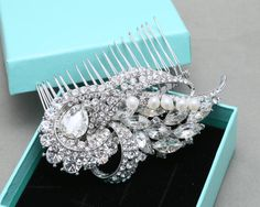 Bridal Hair Comb Wedding Hair Comb Vintage Style by BlingGarden $50