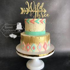 Wild and Three BoHo Birthday Third Birthday Girl, 13 Birthday Cake, Wild One Birthday Party, Golden Birthday, 3rd Birthday Parties, Birthday Ideas, Boho Cake, First Birthdays, Pocahontas Cake
