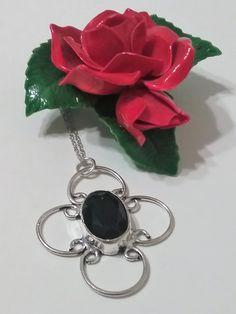 Sterling Silver Genuine Black Onyx Flower Necklace, Onyx Necklace, Faceted Black Onyx Pendant, Sterling Silver Bezel Set Necklace, Onyx by ReigningCrownBeads on Etsy