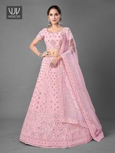 Rs12,000.00 Lehenga Dupatta, Pink Lehenga, Bridal Lehenga Choli, Mirror Work Lehenga, Lehenga Choli Online, Georgette Fabric, Lehenga Designs, How To Dye Fabric, Pink Color